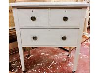 Shabby Chic Light Grey Wooden Dressing Table / Desk / Sideboard - light grey Annie Sloan paint