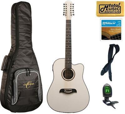 Oscar Schmidt OD312CEWH 12-Strings A/E Guitar - White, Gigbag Bundle, OD312CEWH