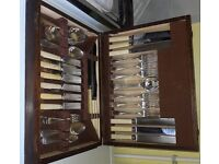 53 piece canteen of cutlery - spoons EPNS / rest stainless steel with cream handles