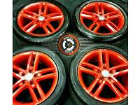 "18"" Genuine Audi S Line twin spoke alloys, 5x112/5x114 Firecracker Red Pearl, excellent tyres."