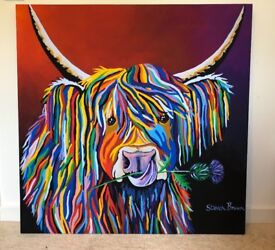 Assorted Canvas Artwork Including Steven Brown Lizzie McCoo Massive Canvas
