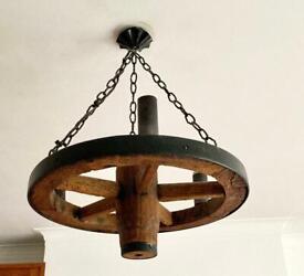 Rustic wooden & iron 3 light chandelier ceiling pendant