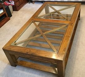 Solid Wood Coffee Table with glass panels