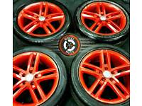 """18"""" Genuine Audi S Line twin spoke alloys, 5x112/5x114 Firecracker Red Pearl, excellent tyres."""