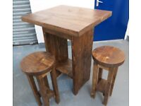 Large rustic bistro bar table and four stools