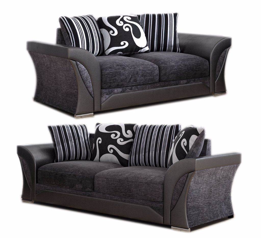 NEW SHANNON 3 + 2 SEATERS SOFAS ARMCHAIR SUITE GREY BLACK, BEIGE BROWN CHENILLE