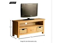 New Roseland Furniture London Oak TV Stand with Baskets £160