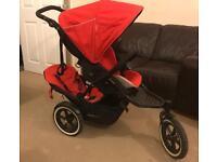 Phil & Teds Sport Navigator Explorer Folding Baby Stroller with Double Kit Seat - Cherry