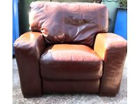 Real leather suite -Armchair and 3 seater sofa