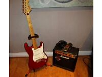 SQUIRE START BY FENDER ELECTRIC DEEP RED GUITAR WITH MARSHALL AMP AND ACCESSORIES