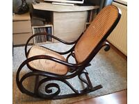 Vintage Bentwood Thonet Design Wood and Cane Rocking Chair