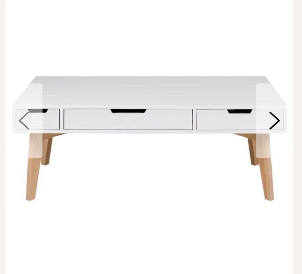 Wayfair Harris White Coffee Table With Three Drawers New In Skelmorlie North Ayrshire Gumtree