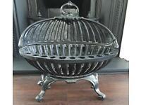 Beautiful original Edwardian Cast iron fire basket/ log holder