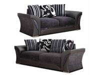 ✨Sale On⭐️🌟SHANNON SOFA FABRIC & FAUX LEATHER-CORNER/3+2 SEATER-black and grey only