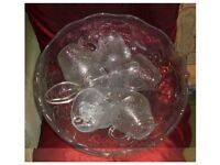 Large Glass Punch Bowl with 12 cups
