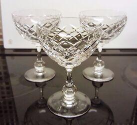 3 x Small Champagne Glasses - 12cm x 8.5cm