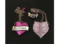 Zombie Heart, Heart Ribcage Necklaces & Ring Combo