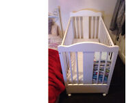 Baby Cot Bed White with mattress clean adjustable gate