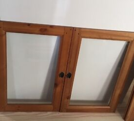 Antique wooden shelves & wooden cupboard doors with glass - set of 2 doors + 2 shelves - inc handles