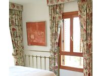 REDUCED for quick sale- pair top quality handmade designer blackout curtains ~ Colefax and Fowler.