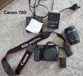 Canon 70D with 18-55mm lens, camera bag and accessories