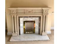 Carved wooden fireplace with granite slips & hearth- offers considered.