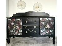 Stunning Vintage Hand Painted Black Floral Sideboard Dresser