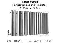 Ximax Vulkan Designer Radiator Column Horizontal Steel Grey 1185mm x 600mm