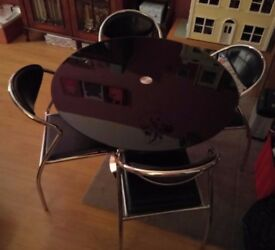 Black Glass Round Dining Table And 4 Chairs REDUCED PRICE