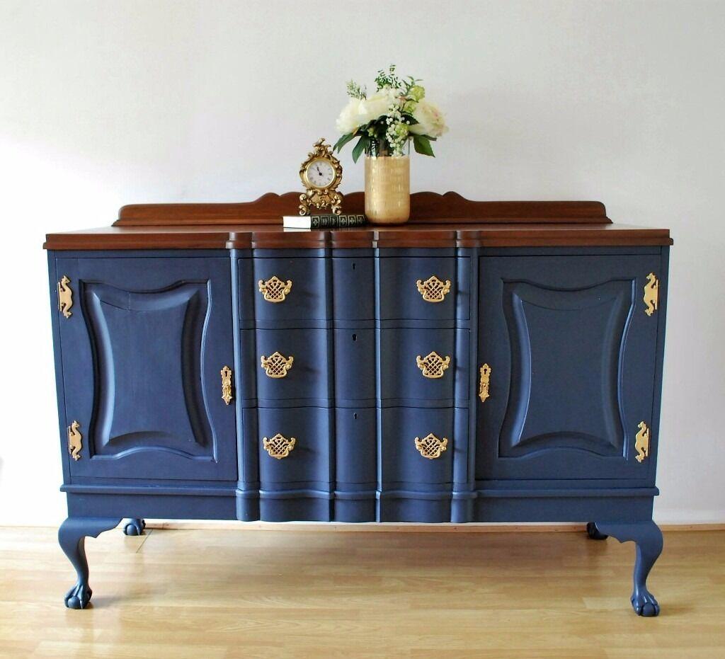 vintage sideboard buffet midnight blue walnut gel finish gold painted hardware