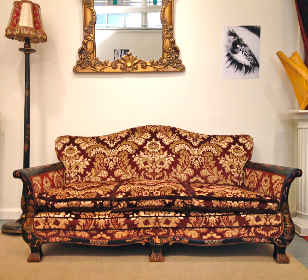Bon Antique Edwardian Chinoiserie Red Gold Brocade Bohemian 3 Seater Sofa Settee  Hand Painted (Set)