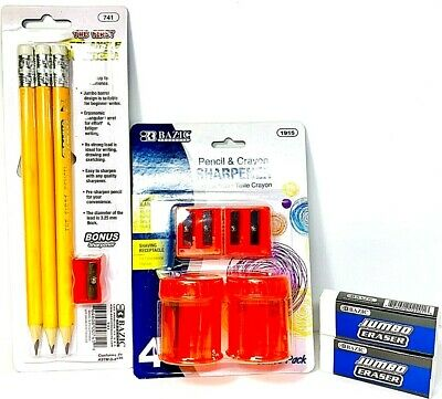 Set4 Pencilcrayon Sharpener With Metal Cutter3jumbo Pencils And 2jumbo Eraser