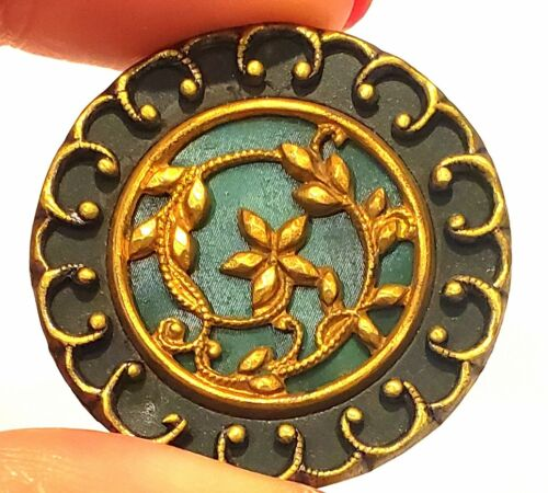 Antique Button…Large Pretty Green Victorian Celluloid