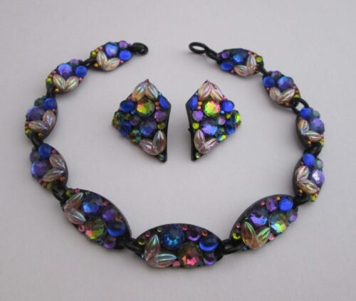 SOHO POP ART ICON, BILL SCHIFFER, NECKLACE & EARRINGS SET, LUCITE, CRYSTALS
