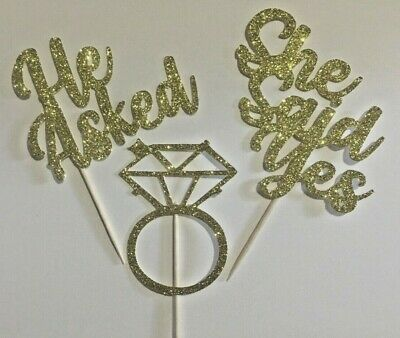 Cup cake Toppers Engagement, hen party, bridal shower Glitter Pack of 6 Bridal Shower Cupcakes