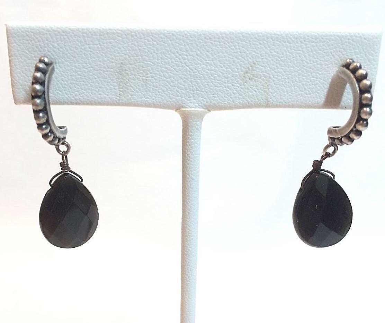 Silver Dangle Earrings W/ Black Teardrop Faux Stones - $10.00