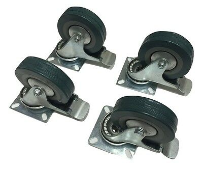Set Of 4 Swivel Plate Casters With 4 Polyurethane Wheels With Step Brake