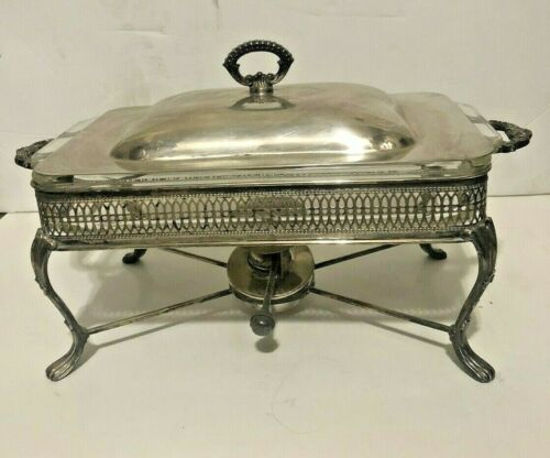 Vintage Sheffield Silver Plated Chafing Dish Buffet Server