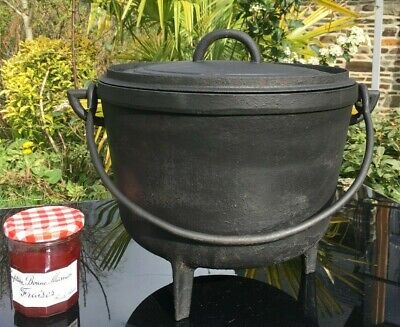 CAST IRON CAULDRON MARMITE HANGING GARDEN PLANTER WITH LID 8 KG VINTAGE FRENCH