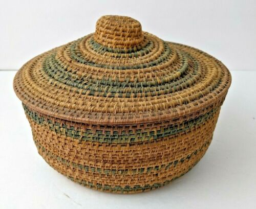 VINTAGE DENSELY HAND WOVEN NATIVE AMERICAN COVERED STORAGE BASKET