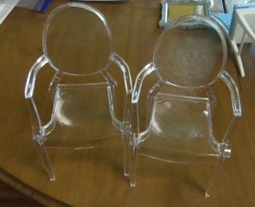 LOT OF 2 Barbie CLEAR Acrylic/Lucite Chair for Fashion Royalty - Exc Condition