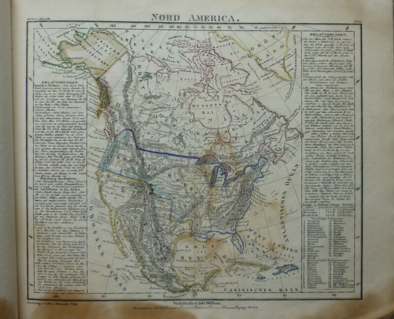 antique World Atlas pre 1840 with 22 maps US without Texas and California