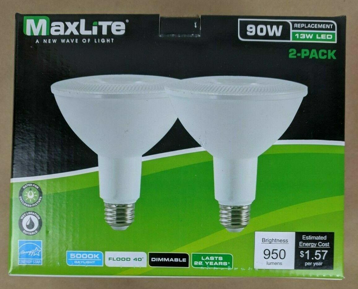 2 Pack LED Outdoor Flood Light Bulbs Weatherproof 90W Daylig