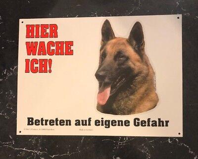 Belgian Malinois Beware Of Dog Sign In German