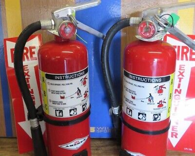 Two 5lb-very Nice-amerex Abc Fire Extinguisher 2020 Cert Signs-vehicle Brackets
