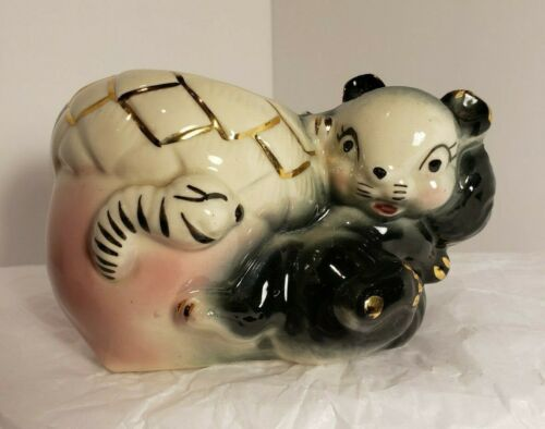 Vintage Royal Copley Squirrel and Acorn Planter