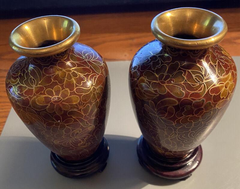 Vintage Chinese Pair of Miniature Cloisonne Vases w/ Flowers