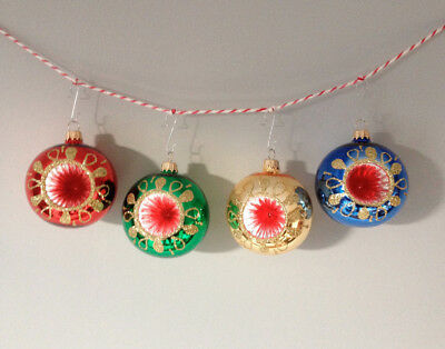 RETRO KITSCH VINTAGE STYLE GLASS CHRISTMAS BAUBLES set of 4