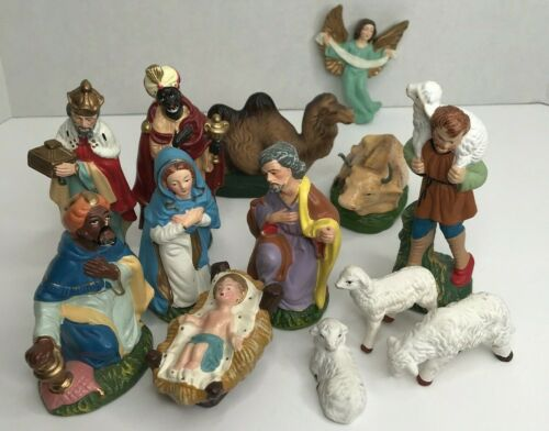 13 pc Mid Century Vintage Japan Composition Christmas Holiday Nativity Set