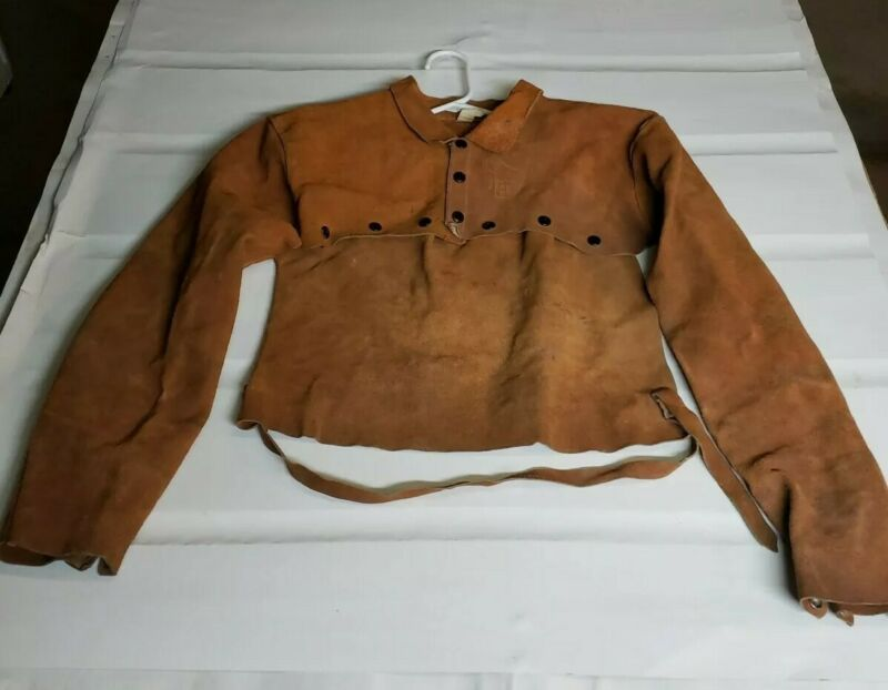 Vintage Elliot Glove Co. Leather Welding Sleeves W/Attatched Chest Plate, Medium